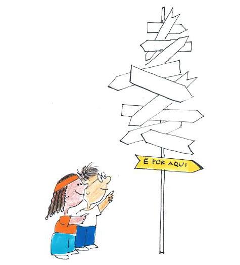 Descrição da imagem: Ilustração de crianças olhando emaranhado de placas e decidindo para onde ir.