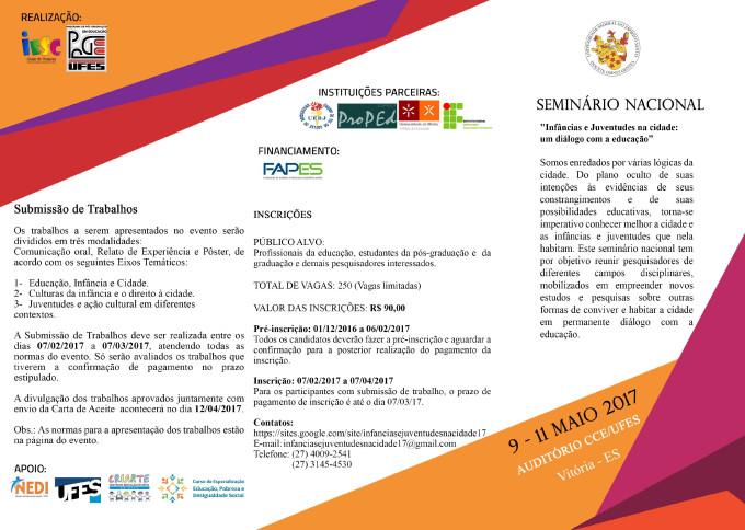 1 Folder I Seminário Nacional Infâncias e Juventudes na Cidade um diálogo com a educação-1