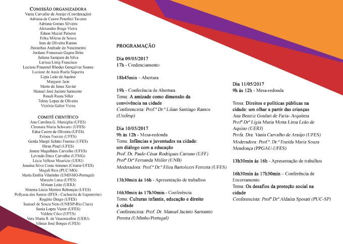 2 Folder I Seminário Nacional Infâncias e Juventudes na Cidade um diálogo com a educação-2